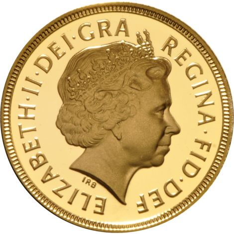 2002 Gold Sovereign - Elizabeth II Fourth Head Shield Back