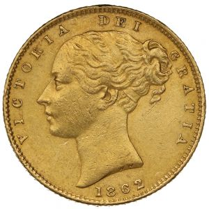 1862 Gold Sovereign - Victoria Young Head Shield Back