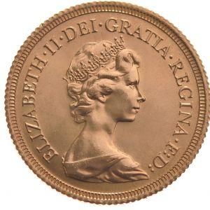 1974 Gold Sovereign - Elizabeth II Decimal head