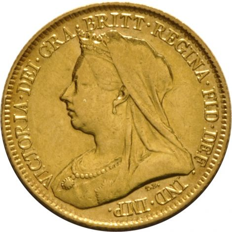 1893 Gold Half Sovereign - Victoria Old Head