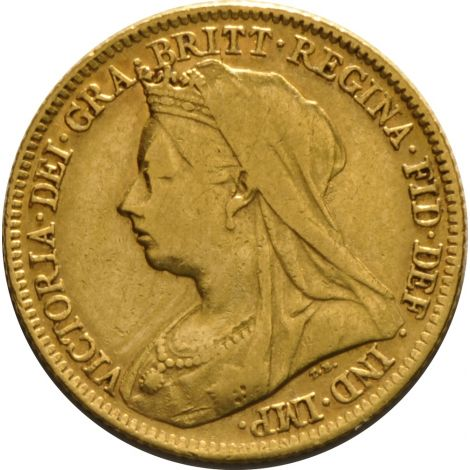 1897 Gold Half Sovereign - Victoria Old Head - London