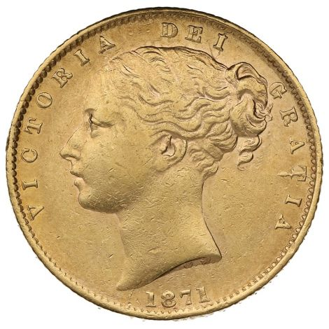 1871 Gold Sovereign - Victoria Young Head Shield Back
