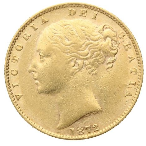 1872 Gold Sovereign - Victoria Young Head Shield Back